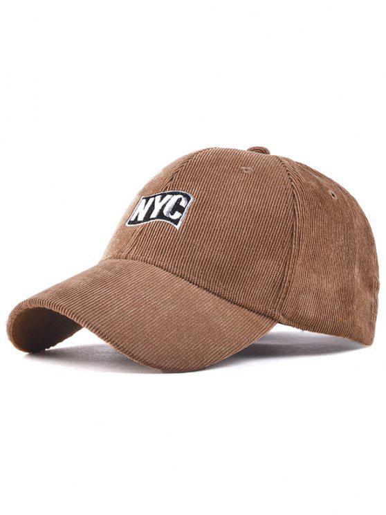 Primavera Otoño NYC bordado de la pana del sombrero de béisbol - Caqui