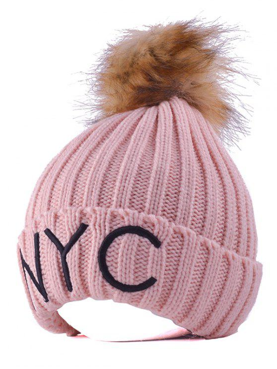 best Knitted NYC Embroider Pom Ball Beanie Hat - PINK