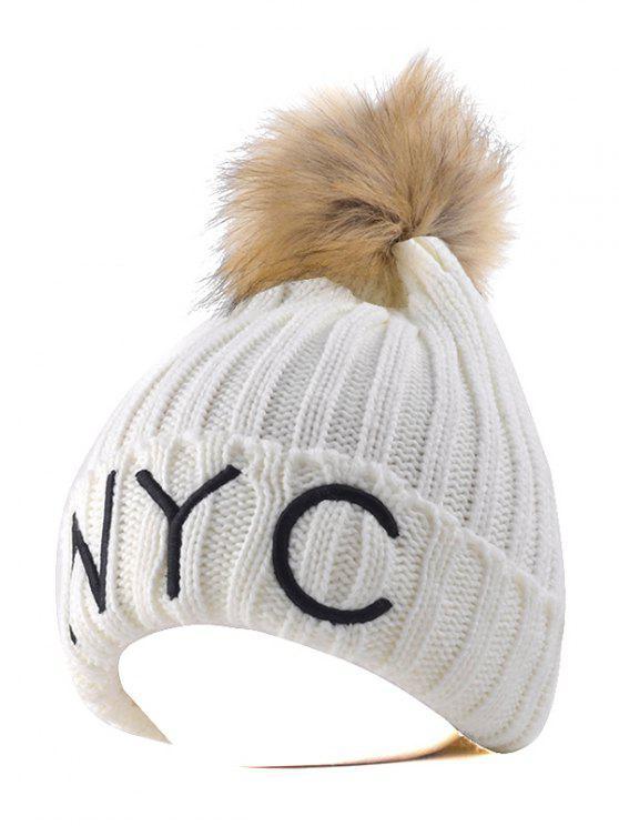 Artículos de punto de NYC borda Pom Bola Beanie sombrero - Blanco