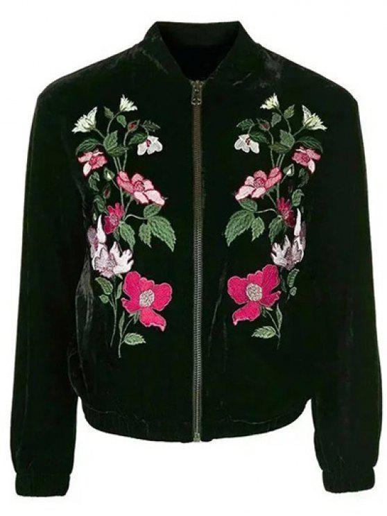 Flor bordada chaqueta de terciopelo - Negro M