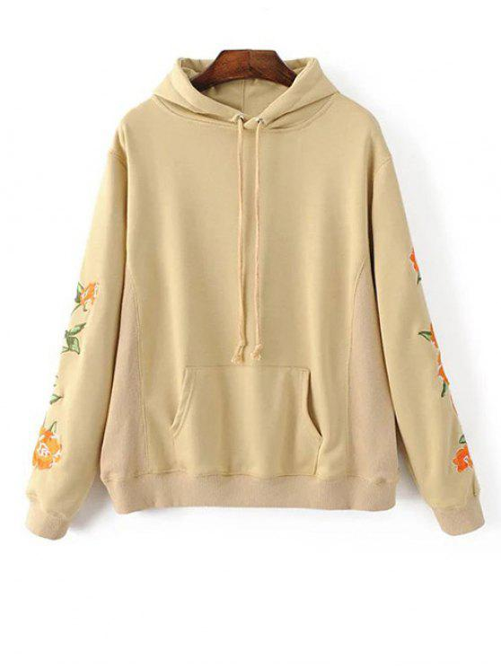 Front pocket floral embroidered hoodie palomino