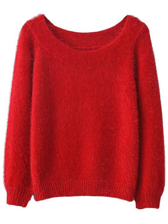 lady Off Shoulder Fluff Knitwear - RED ONE SIZE