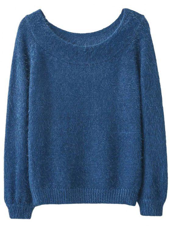 best Off Shoulder Fluff Knitwear - BLUE ONE SIZE