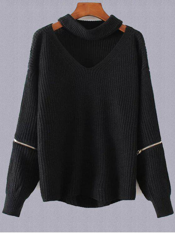 ladies Plus Size Cut Out Chuky Choker Sweater - BLACK ONE SIZE