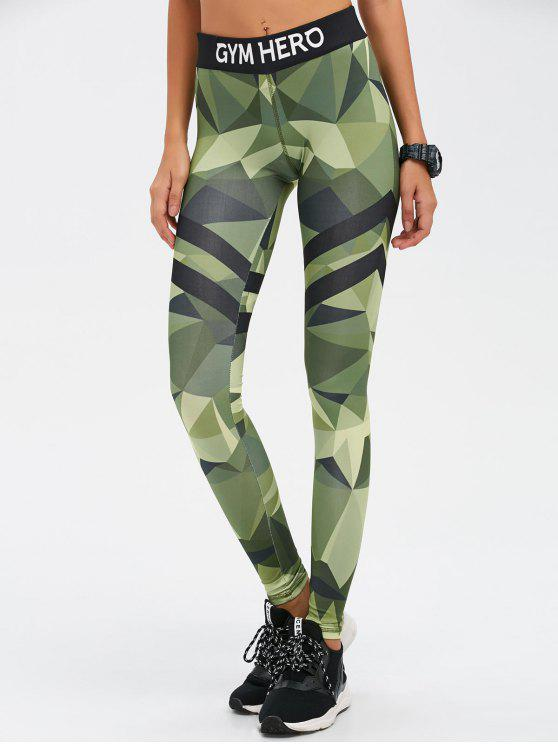 shop Stretchy Camo Print Gym Leggings - CAMOUFLAGE COLOR L