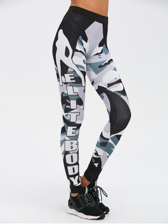 new Letter Camo Print Insert Gym Leggings - CAMOUFLAGE COLOR S