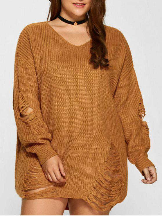 hot Plus Size Distressed Longline Pullover Sweater - EARTHY 3XL