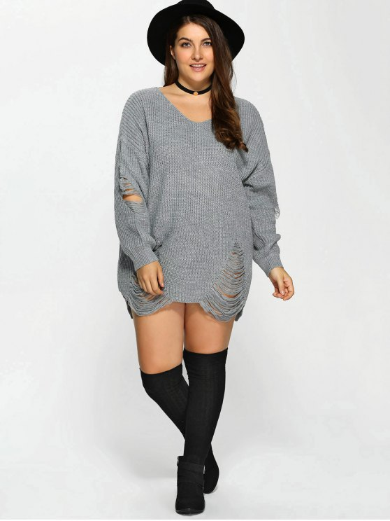trendy Plus Size Distressed Longline Pullover Sweater , GRAY 2XL