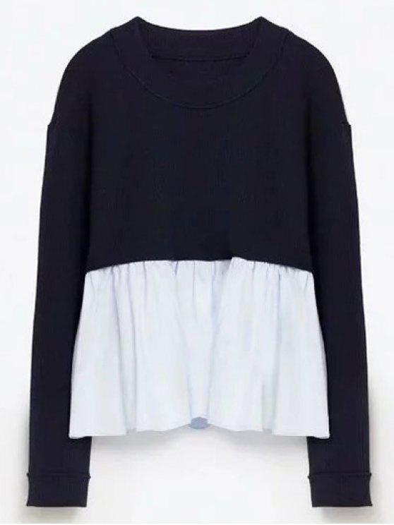 Em torno do pescoço camisola Paneled - Azul Arroxeado S