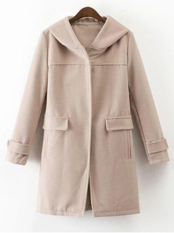 fancy Hooded Pockets Wool Blend Coat - APRICOT M