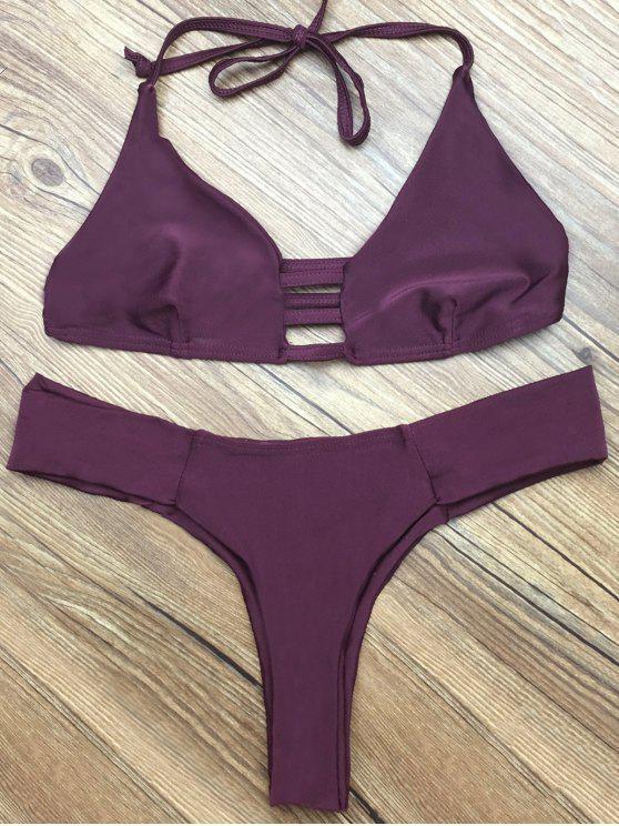 outfits Deep Purple Halter Bikini Set - DEEP PURPLE M