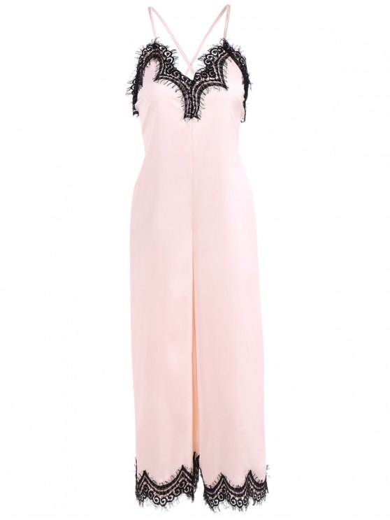 women Criss Back Lace Spliced Jumpsuit - PINKBEIGE XL