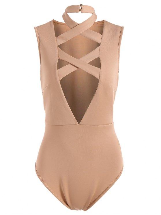 shops Plunging Neck Crisscross Strap Bodysuit - APRICOT S
