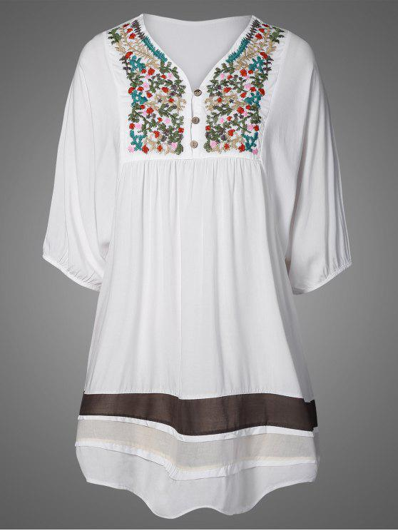 buy Embroidered Bib Tunic Dress - WHITE ONE SIZE