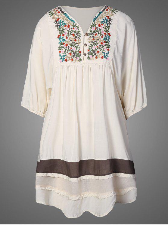 womens Embroidered Bib Tunic Dress - APRICOT ONE SIZE