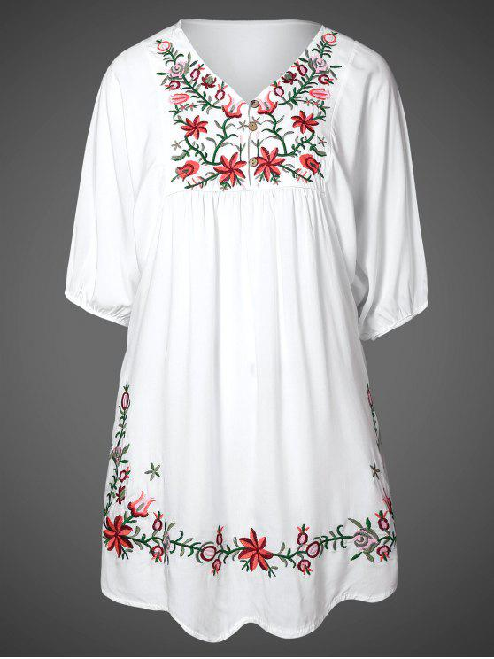 womens Floral Embroidered Bib Tunic Dress - WHITE ONE SIZE