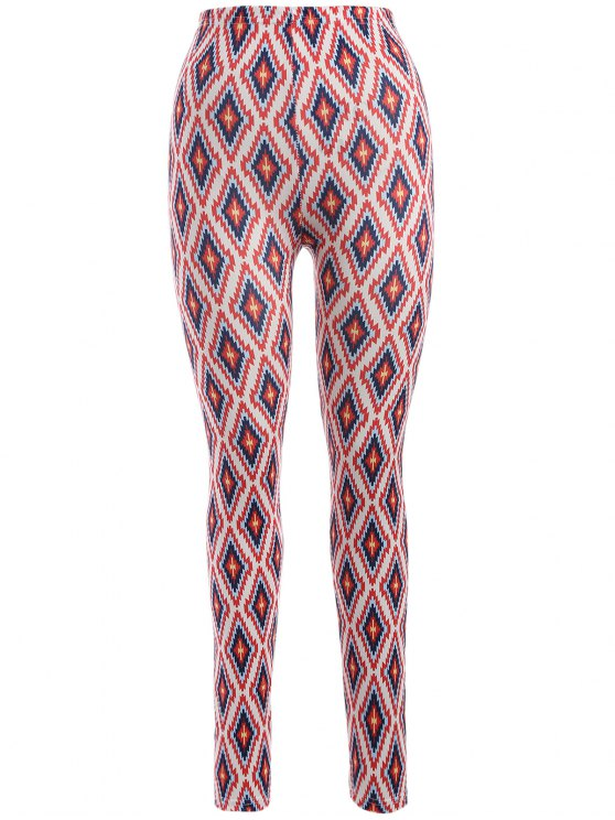 unique Argyle Leggings - RED ONE SIZE