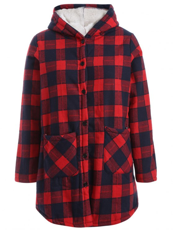 women's Hooded Plus Size Plaid Fleeced Coat - RED 2XL