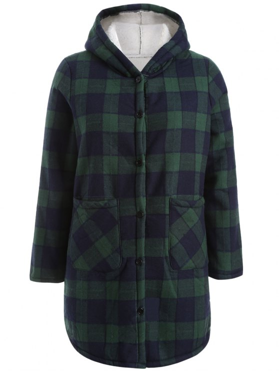 lady Hooded Plus Size Plaid Fleeced Coat - BLUE AND GREEN 3XL