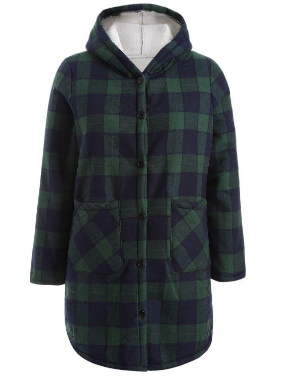 Encapuchado más el tamaño de la capa de la tela escocesa esquilado - Azul y Verde XL