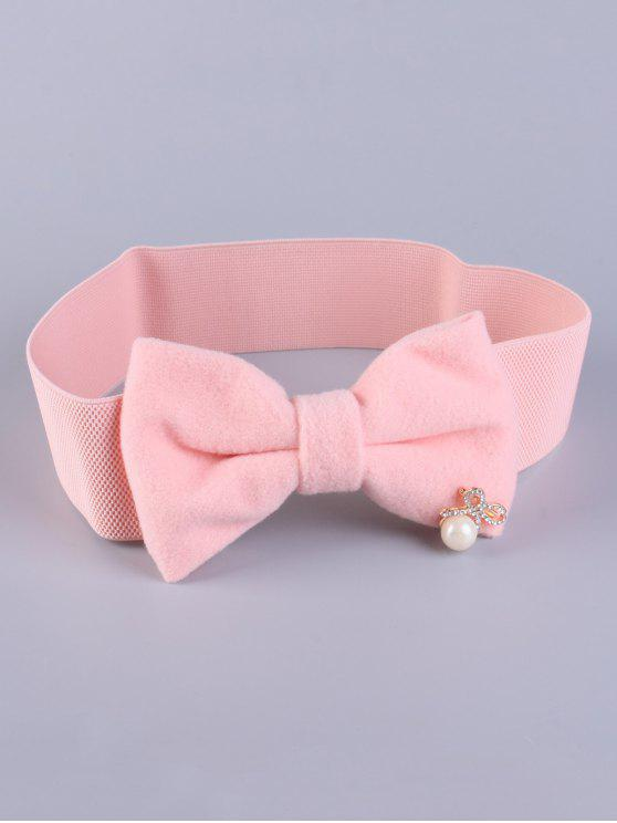 buy Faux Pearl Bowknot Stretch Belt - SHALLOW PINK