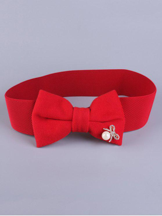 lady Faux Pearl Bowknot Stretch Belt - RED