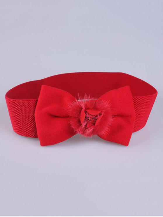 shop Faux Fur Bowknot Stretch Belt - RED
