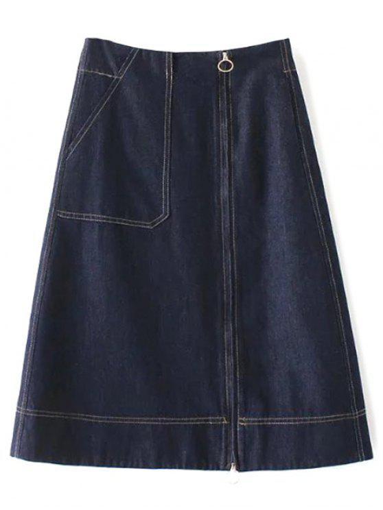 Zíper A Linha Jean Skirt - Azul Escuro M