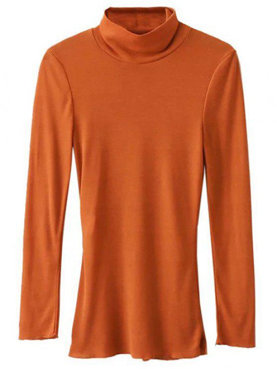 Camiseta Manga Larga Cuello Alto - Naranja Profunda S
