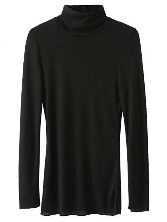 Camiseta Manga Larga Cuello Alto - Negro S