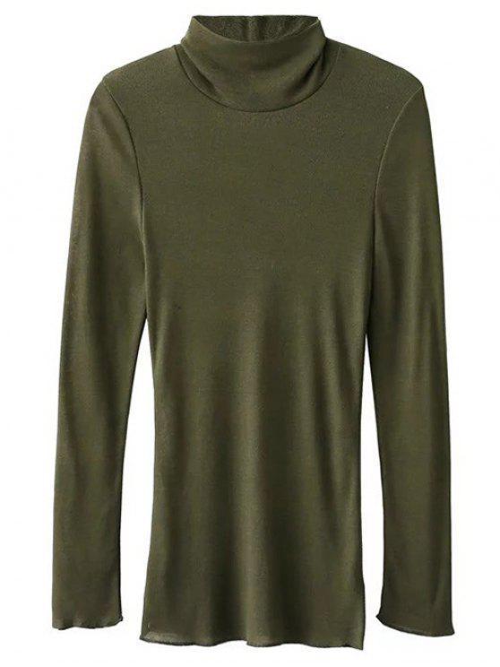 Camiseta Manga Larga Cuello Alto - Verde del ejército S