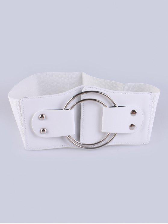 shop Faux Leather Double Circle Stretch Belt - WHITE