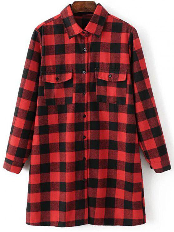 latest Long Sleeve Checked Boyfriend Shirt - RED S