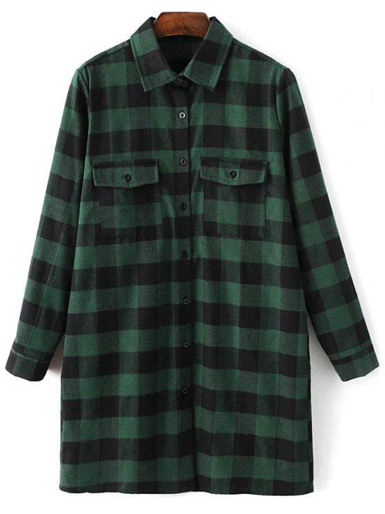 trendy Long Sleeve Checked Boyfriend Shirt - GREEN L