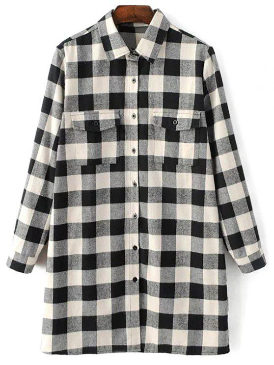 affordable Long Sleeve Checked Boyfriend Shirt - WHITE AND BLACK L