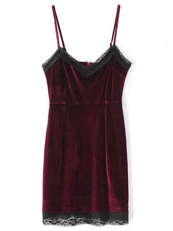 Vestido Mini de Tirante Fino de Pleuche con Panel de Encaje - Burdeos L