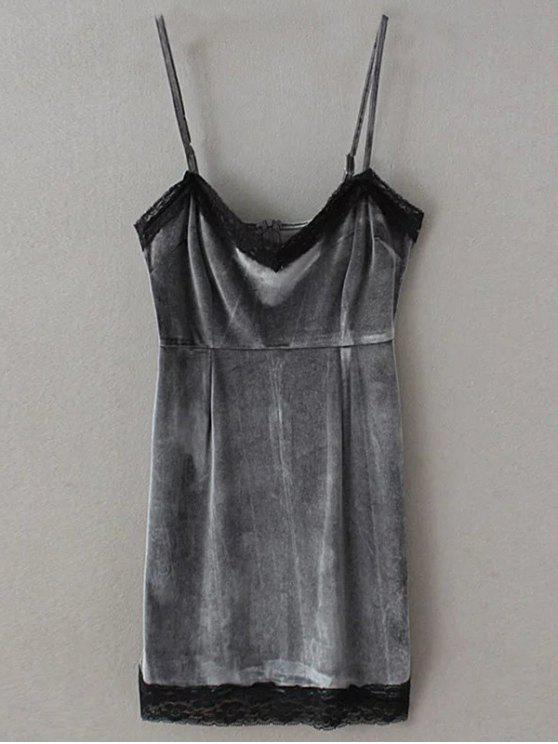 outfits Lace Panel Pleuche Mini Cami Dress - GRAY S