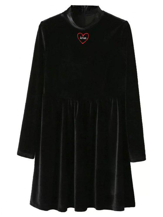Medio Cuello vestido de la llamarada del terciopelo - Negro S