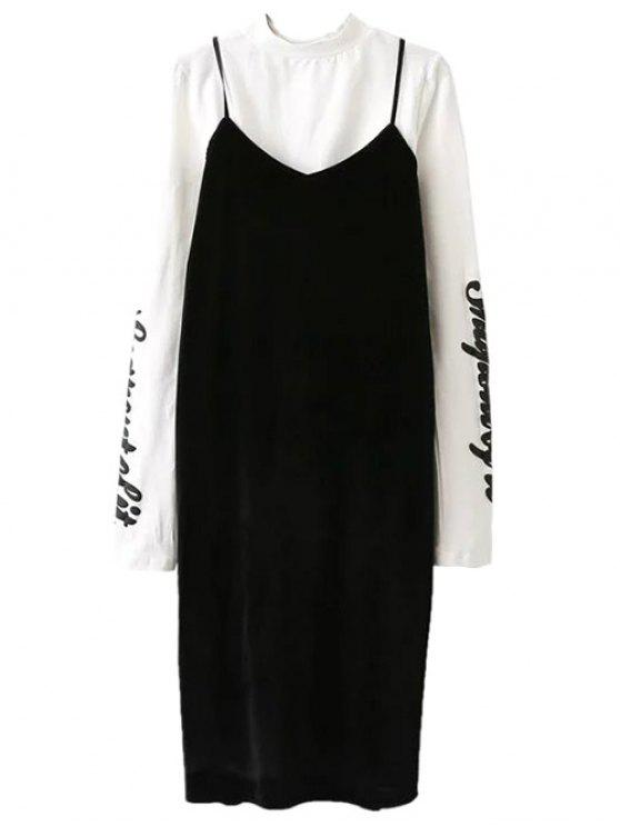 buy Pleuche Slip Dress with Letter Tee - WHITE AND BLACK M