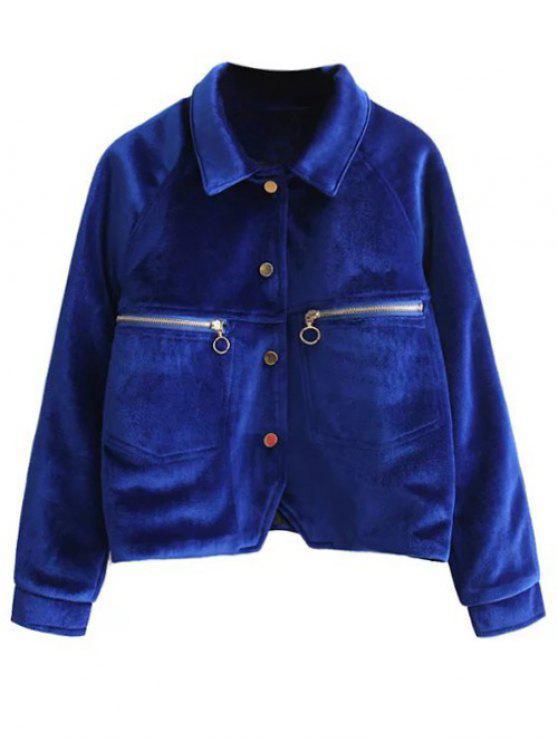 chic Graphic Embroidered Zipper Pocket Velvet Jacket - ROYAL S