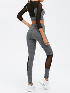 Mesh Spliced Skinny Sport Suit - Gray S