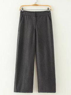 High Waist Stripe Wide Leg Pants - Deep Gray L