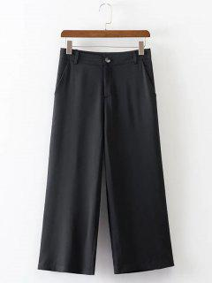 Cropped Wide Leg High Waist Pants - Black L
