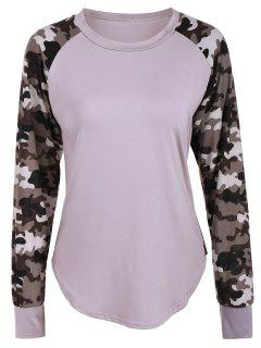 Raglan Sleeve Camouflage Panel T-Shirt - Light Khaki L