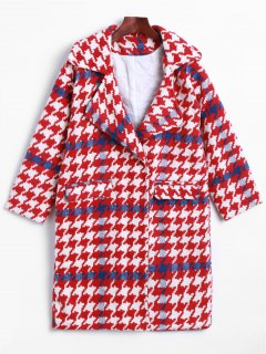 Lapel Houndstooth Woolen Coat - Red S