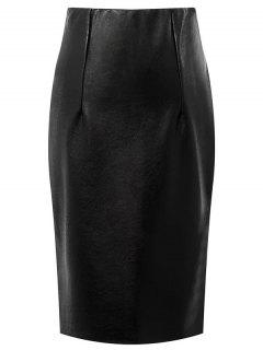 Faux Leather High Waisted Pencil Skirt - Black M