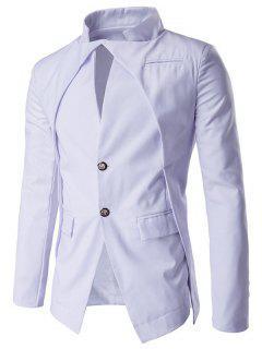 Pocket Stand Collar Layered Two Button Blazer - White Xl