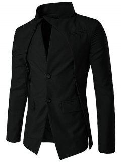 Pocket Stand Collar Layered Two Button Blazer - Black 2xl