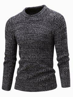 Slim Fit Crew Neck Ribbed Knitted Sweater - Black Xl