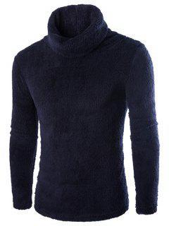 Fuzzy Turtleneck Fleece Sweater - Black L